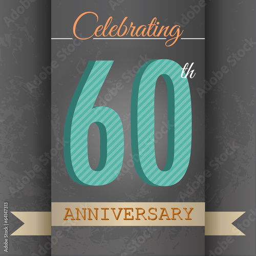 60th Anniversary poster/template design in retro style-Vector