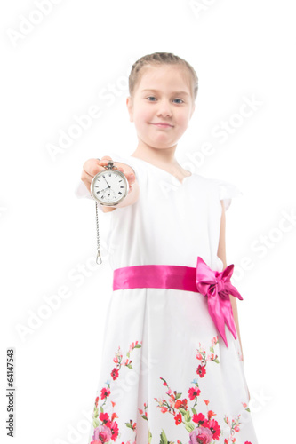little girl and pocket watch on white background