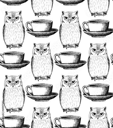 Sketch owl and cup, vector vintage seamless pattern - 64147582