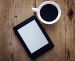E-book reader and coffee - 64147771