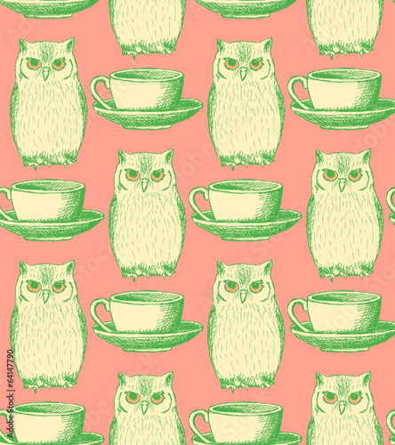 Sketch owl and cup, vector vintage seamless pattern - 64147790