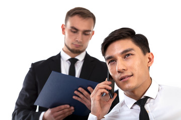 Business partner consulting by phone
