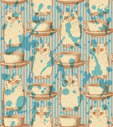 Sketch owl and cup, vector vintage seamless pattern - 64147931