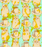 Sketch owl and cup, vector vintage seamless pattern