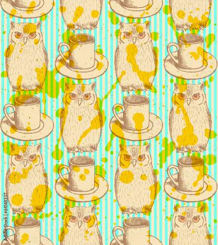 Sketch owl and cup, vector vintage seamless pattern - 64148337