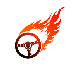 symbol burning automobile steering