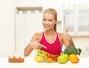 woman pointing at healthy food
