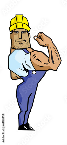 Strong Worker showing biceps
