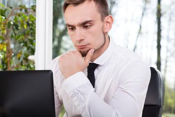 Businessman during working