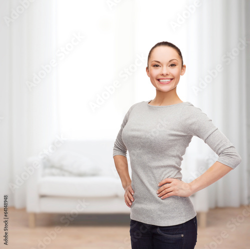 smiling asian woman over white background