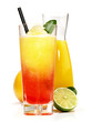 canvas print picture - Zweifarbiger Margarita Cocktail mit Orangensaft