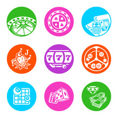 Colorful metro-style icons for online casino