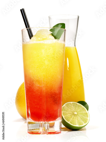 canvas print picture Zweifarbiger Margarita Cocktail mit Orangensaft
