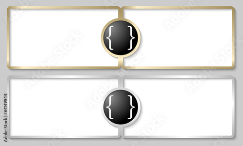 silver and golden text boxes with brackets