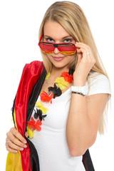 Attraktive junge Frau als Deutschland Fan
