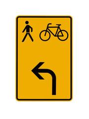 Verkehrsschild - Umleitung für Fussgänger und Fahrradfahrer