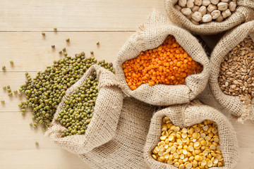 bags with cereal grains