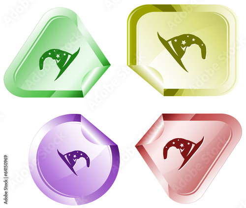 Astrologer's hat. Vector sticker.