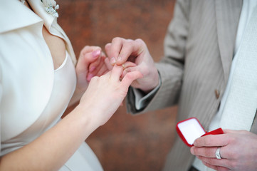 the groom puts on to the bride a wedding ring