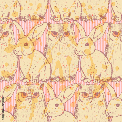 Sketch rabbit and owl, vector vintage seamless pattern - 64151143