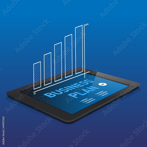 Black tablet with abstract BUSINESS PLAN graphics on display