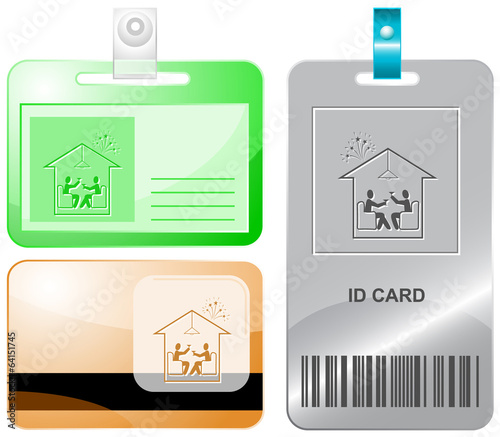 Home celebration. Vector id cards.
