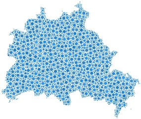 Map of Berlin State - Germany - in a mosaic of blue bubbles