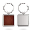 Keychains with square trinkets for design - leather and metal. - 64152303