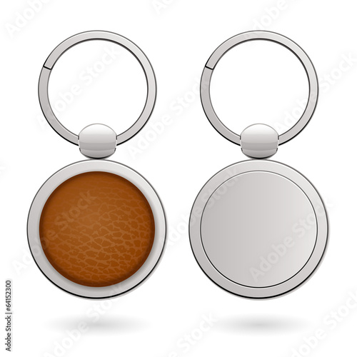 Keychains with round trinkets for design - leather and metallic.