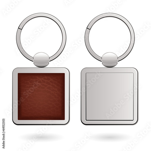 Keychains with square trinkets for design - leather and metal.