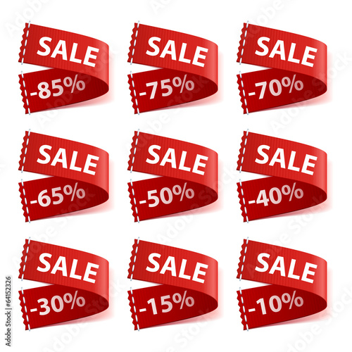 Set of sew in SALE labels with different discount percentage.