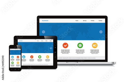 mobile, tablet and laptop responsive webdesign isolated backgrou - 64152340