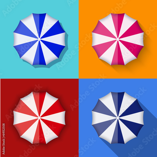 Vector modern umbrella icons set