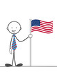 STICKMAN HOLDING AMERICAN FLAG (united states usa)