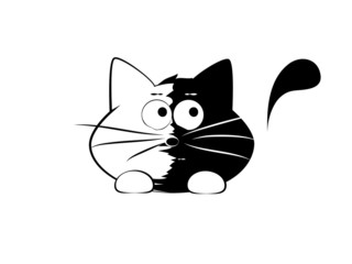 Vector illustration, funny cat, skeptic
