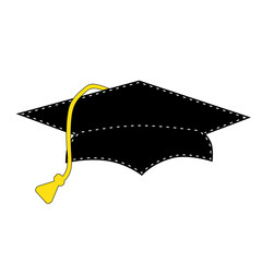 Black graduation cap with white stitching