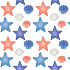 Sea shells and starfish seamless pattern