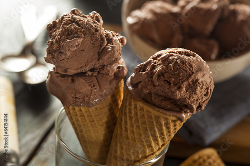 Homemade Dark Chocolate Ice Cream Cone