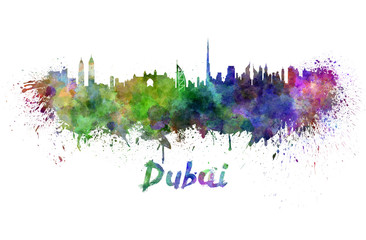 Dubai skyline in watercolor