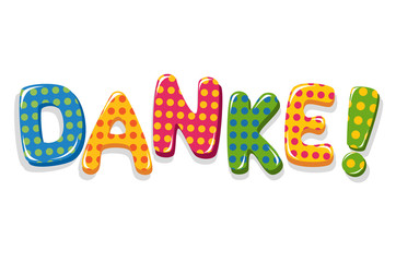 German word Danke colorful lettering with polka dot pattern
