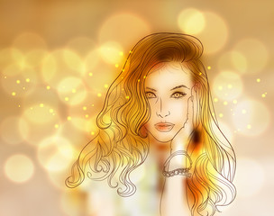 Creative Vector Woman Portrait with Colorful Bokeh