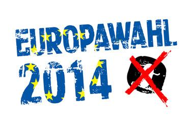 Stempel mit Kreuz und Europawahl 2014