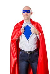 man acting like a super hero