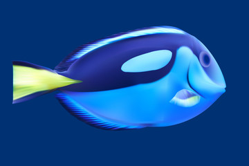 Blue tropical fish. Vector illustration