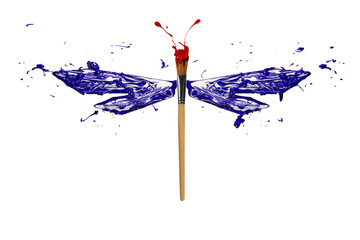 Blue red white paint made dragonfly
