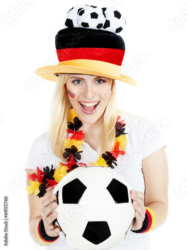 Girly soccer fan has a lot of fun