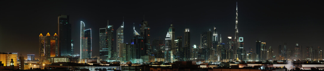 Dubai. World Trade center and Burj Khalifa at night