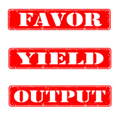 Set of stamps favor, yield, output, vector illustration