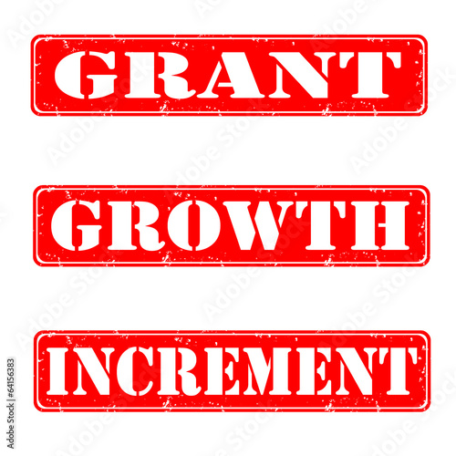 Grant, growth, increment grunge stamps, vector illustration