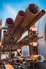 Industrial rusty pipes in outdoor rack